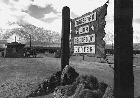 Ansel Adams, Entrance to Manzanar, 1943. Gelatin silver print (printed 1984). Private collection; courtesy of Photographic Traveling Exhibitions.