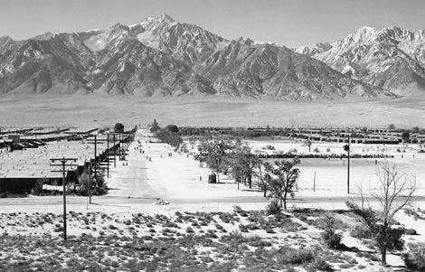 Ansel Adams, Manzanar from Guard Tower, 1943. Gelatin silver print (printed 1984). Private collection; courtesy of Photographic Traveling Exhibitions.