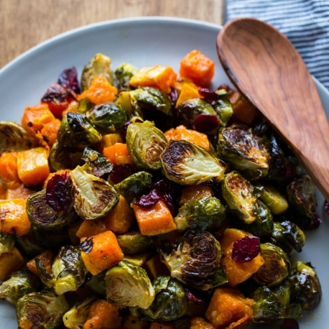 Roasted Brussels Sprouts and Squash with Dried Cranberries and Dijon Vinaigrette (via bloggingoverthyme.com